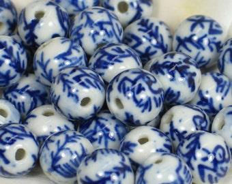 Chinese porcelain beads blue white birds leaves