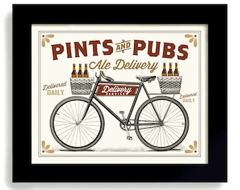 Bicycle Art, Beer Sign, Pints and Pubs, Cycling Art, Bar Sign Beer Gift