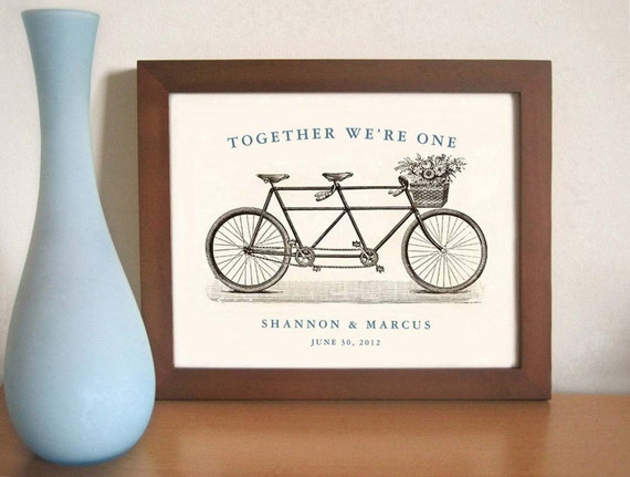 Tandem Bike Unique Wedding Gift Personalized Art Print Anniversary ...