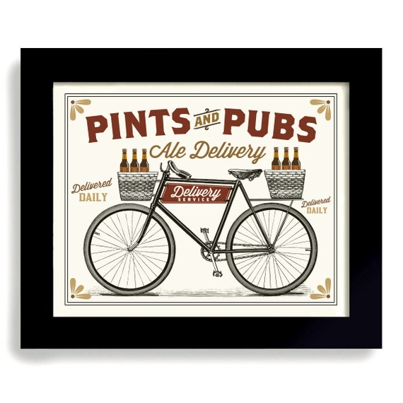 Bicycle art beer sign pints and pubs cycling art bar sign for Craft beer cycling jerseys