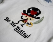 Pirate Valentine embroidered baby bodysuit Be Me Matey