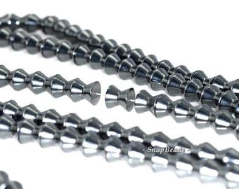 8mm Noir Black Hematite Gemstone Black Bicone Hourglass 8x8mm Loose Beads 16 inch Full Strand ...