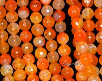 8mm Citrus Spice Red Agate Gemstone Orange Red Faceted Round 8mm Loose Beads 15 inch Full Strand (90148317-445)