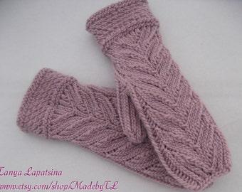 Grove Mittens, Hand Knit Mittens, Knit Women Mittens, Pink Mittens, Knit Cabled Mittens