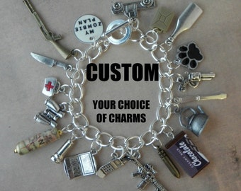 CUSTOM - YOUR ZOMBIE Plan Charm Bracelet For The Walking Dead Zombie Apocalypse... Choose 18 Charms Of Your Choice - Zombie Survival Kit