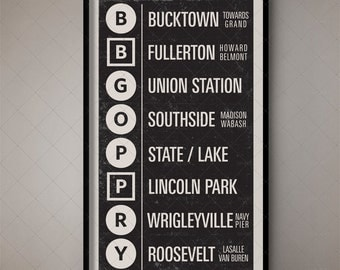 Retro Chicago Illinois Typography Print, Vintage Subway Print, Roll Sign, Bus Roll, Vintage Typography, Chicago Elevated, Classic Chicago