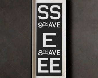 Vintage American New York Subway Sign Art - Train S