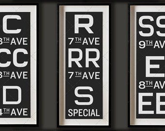Vintage American New York Subway Sign Art Prints Collection, New York Platform Signs, New York Transit Art, NYC Subway Signs, NYC Subway Art