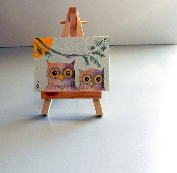 CUTE OWLS Colored Pencil Drawing, ACEO Small Format Art Nature Art