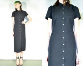 Vintage 90s Minimalist NU WOMYN Maxi Light Denim Black Cotton Button Down Midi Dress