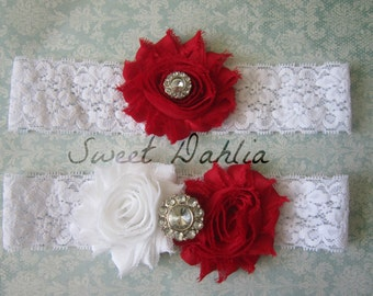 Red & White Wedding Garter Set - Choose Rhinestone or Pearl