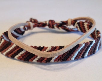 Shades of Browns Stripes - Friendship Bracelet - with Beige Suede