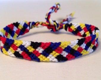 Red, Yellow, Blue, Black & White - Little Squares - Friendship Bracelet
