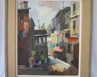 Vintage European Street Painting, Signed Cordet