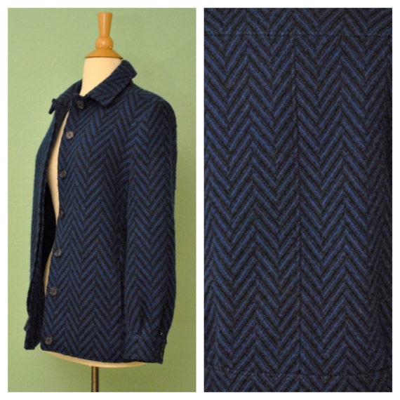 Vintage Womens Pendleton Jacket in Blue and Black Chevron Print Button Up with Front Pockets
