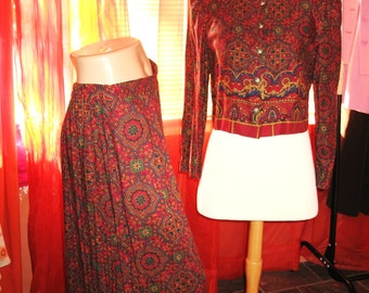 Amazing Vintage Maggy London SUIT Jacket With Skirt  Floral Tribal Rayon Size 12 P