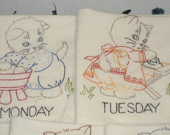 FREE SHIPPING Handmade Embroidered Tea Towels Busy Kitties OOAK Set of Seven