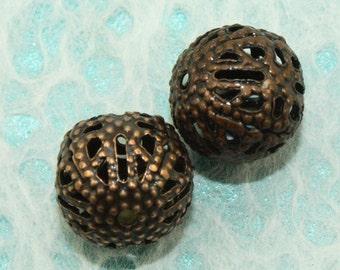 Antique Copper Filigree Iron Beads 8mm (12 pcs) C52