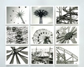 New York Photography - Print Set Of Nine - Coney Island In Black And White -10 X 8 Inch Prints - Art - Wall Art - Wall Decor