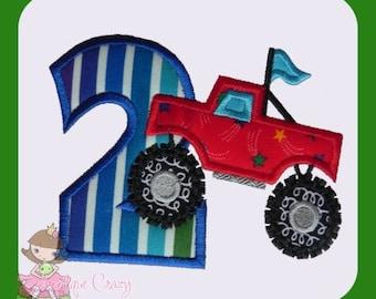 Monster truck Applique Number Two design