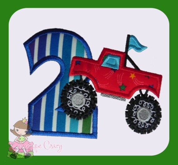 Monster truck Applique Number Two design