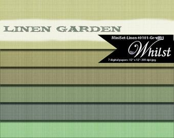 Linen digital paper texture printables in green emerald celery : t101 GR v301