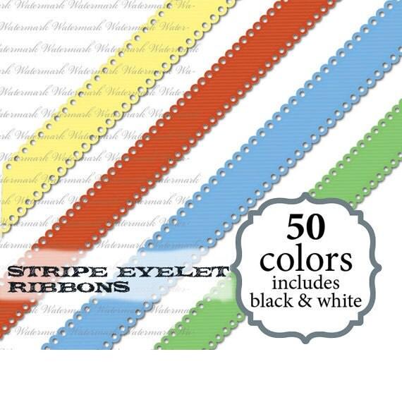 Eyelet digital ribbon clipart ribbon clip art, cute scrapbook : c0085 & v301 black