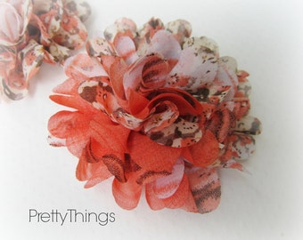 Orange Floral Chiffon Flower. 1 Flower