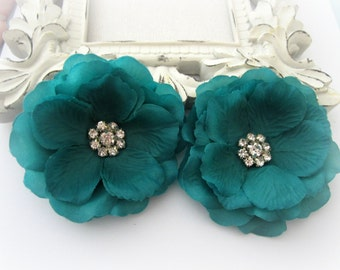 Teal Silk Flowers with Rhinestone Center. 2 Piece. CELINE Collection