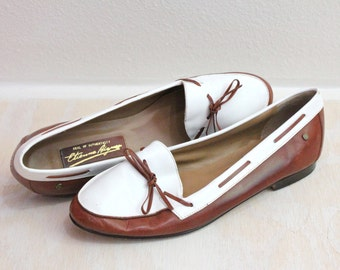Vintage Etienne Aigner Two Tone Leather Loafers Sz 8