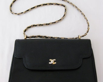 60s Morris Moskowitz Vintage Black Leather Lizard Embossed Chain Strap Purse