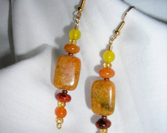 Autumn leaves inspired semi precious stone dangle earrings - Sale 10% off