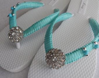 Aqua Blue Wedding Flip Flops / Bridal pearls flip flops /Macrame Beach Flip Flops / Bridesmaids..