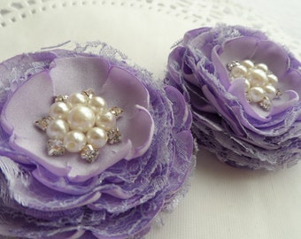 Bridal Hair Clips / Wedding Hair Flowers / Lavender Bridal Hair Clips / Wedding Hair / Shoe Clips / Set of 2 Handcrafted Flowers.