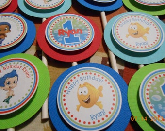 Bubble Guppies Cupcake Toppers-Bubble Guppies Topper-Bubble Guppies Birthday Decoration-Bubble Guppies Party Decoration-Bubble Guppies Party
