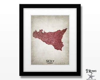 Sicily Map - Home Is Where The Heart Is Love Map - Original Custom Map Art Print Available in Multiple Size and Color Options