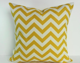 Yellow Chevron Decorative Pillow Cover, Corn Yellow, Pillow Cushion, 18 x 18