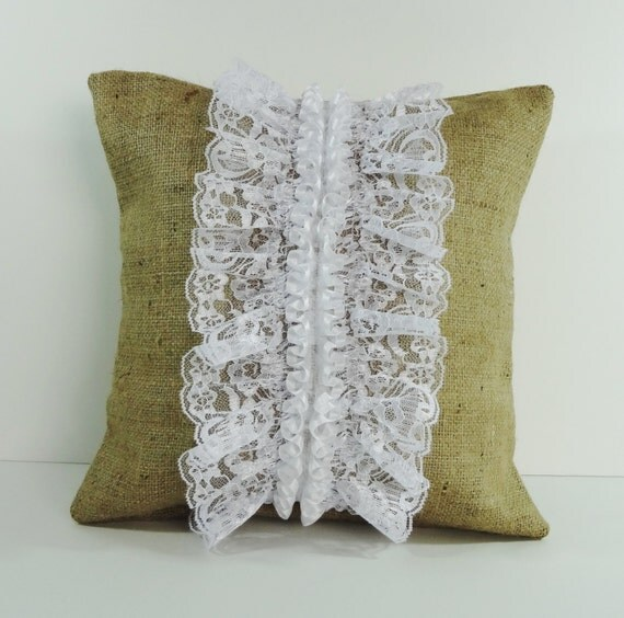 Decorative Burlap Pillow Covers : Rustic Burlap and Lace Decorative Pillow Cover Cushion Cover
