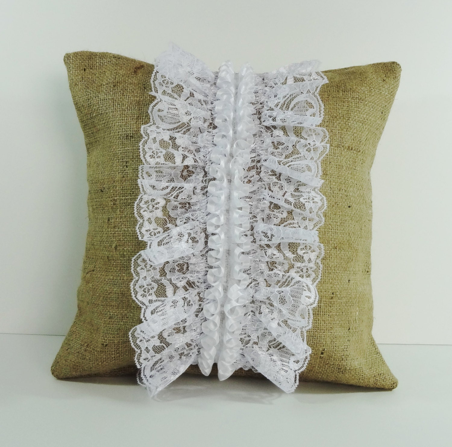 Throw Pillows With Lace : Rustic Burlap and Lace Decorative Pillow Cover Cushion Cover