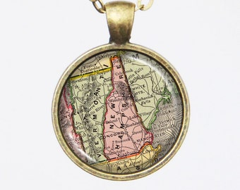 State Map Necklace -New Hampshire -Vintage Map Series