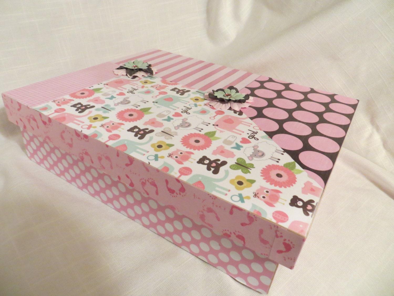 baby girl memory box keepsake box baby animals stripes. Black Bedroom Furniture Sets. Home Design Ideas