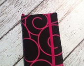 Black with pink swirl wallet for HTC Evo, Desire, Inspire, Thunder Bolt, and Droid with removable gel case