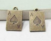 25pcs 12x21mm Antique Bronze Ace of Spade Poker Card Charm Pendant C307-6