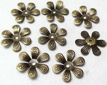 Flower Bead Caps -50pcs Antique Bronze Flower End Cap Charms 18mm F303-4