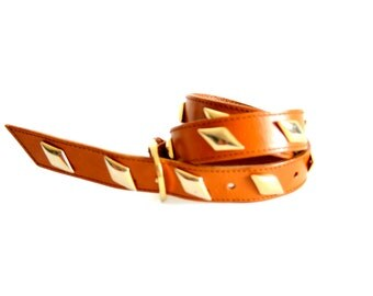 Made in Italy Studded Leather belt - SIze Small - brown  - Size S/M