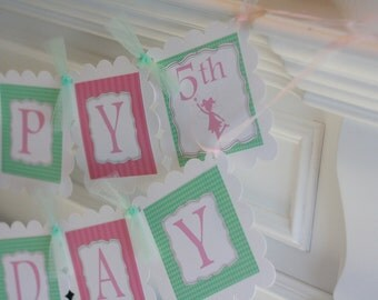 Happy Birthday Pink Green Fairy Silhouette Banner - Ask About Our Party Pack Specials - Free Ship Over 65.00