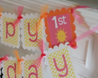 Happy Birthday Little Sunshine You Are My Sunshine Hot Pink Orange Yellow Chevron Theme Banner - Party Pack Specials - Free Ship Over 65.00