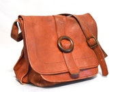 Vintage Rust Leather Medium Shoulder Satchel Bag - 1970s - Colombian - RebootVintage