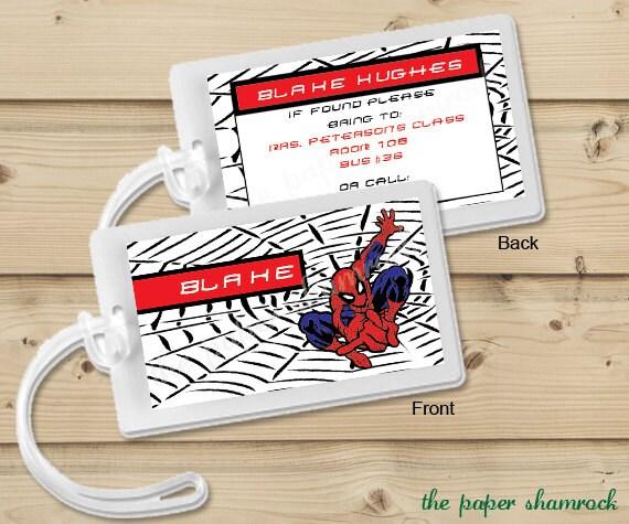 Spiderman -  Luggage Tag, Bag Tag, Backpack Tag, ID Tags, Personalized, Custom