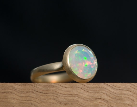 Gold Opal Ring - Large Opal Ring Set in 18k Gold - White Opal Ring - Ethiopian Opal - Hand Made Ring - US Size 6.5 - FREE SHIPPING